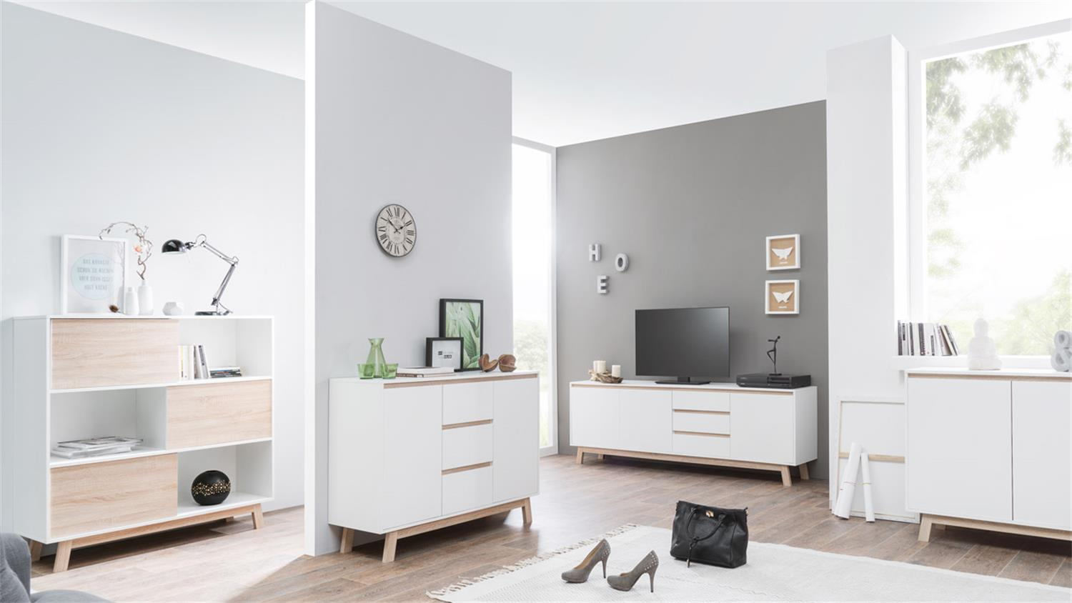 regal apart 5 kommode sideboard schrank wei und sonoma eiche 120 cm. Black Bedroom Furniture Sets. Home Design Ideas