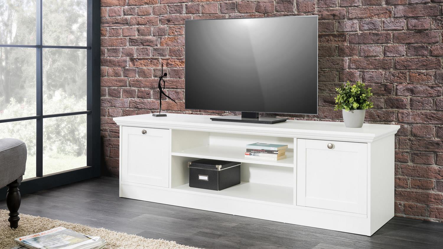 tv board landwood lowboard hifi in wei mit 2 f chern landhausstil. Black Bedroom Furniture Sets. Home Design Ideas