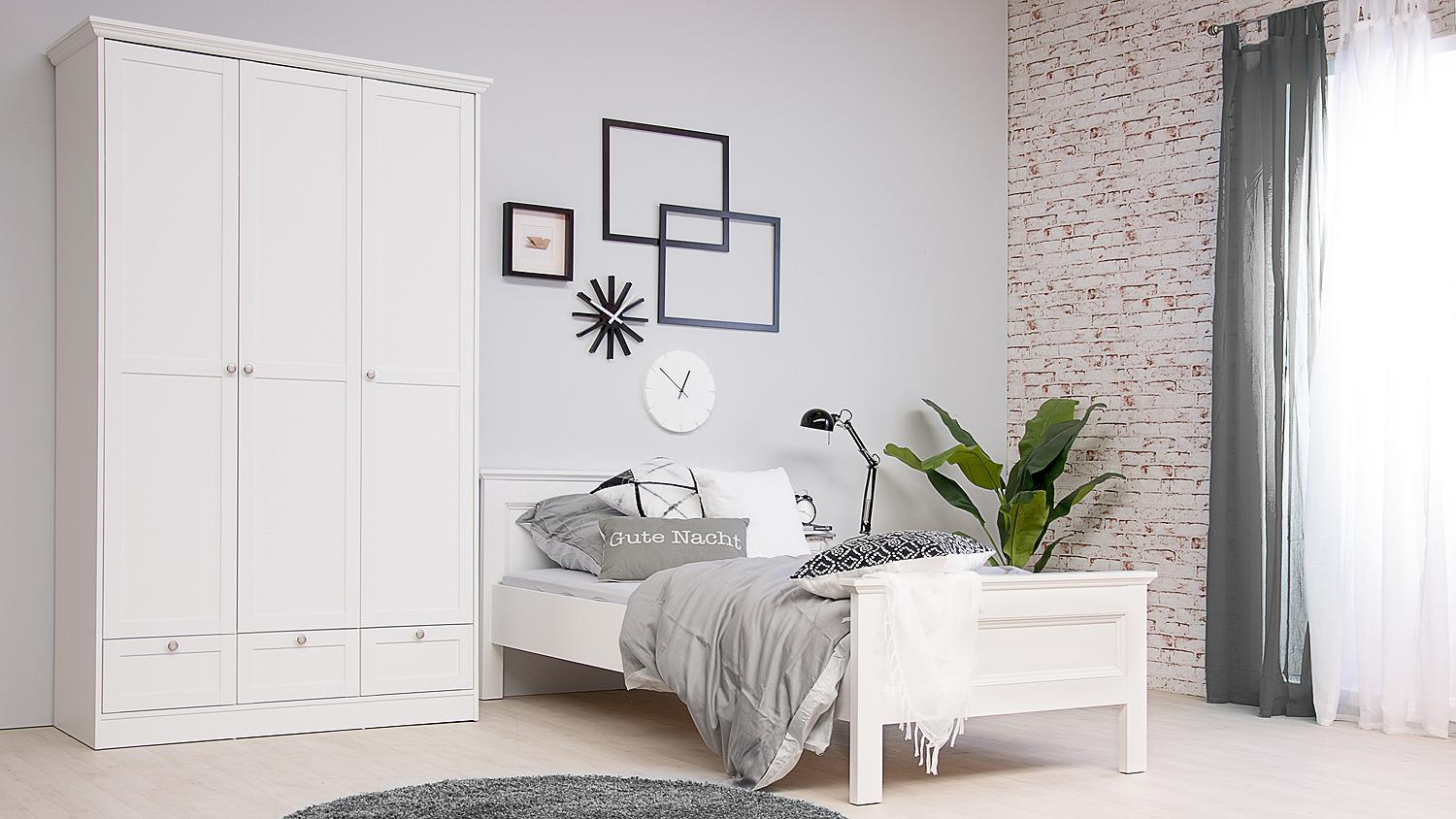 bett landwood bettgestell in wei mit kopfteil 90x200 cm landhausstil. Black Bedroom Furniture Sets. Home Design Ideas