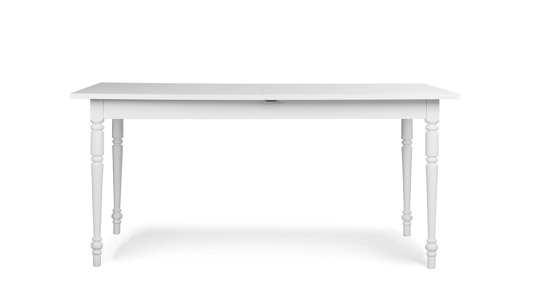 esstisch landwood 57 wei massiv lackiert auszug 160 200. Black Bedroom Furniture Sets. Home Design Ideas