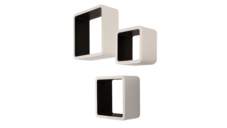 wandregal set cubo 3 teiliges regal in wei schwarz lackiert. Black Bedroom Furniture Sets. Home Design Ideas