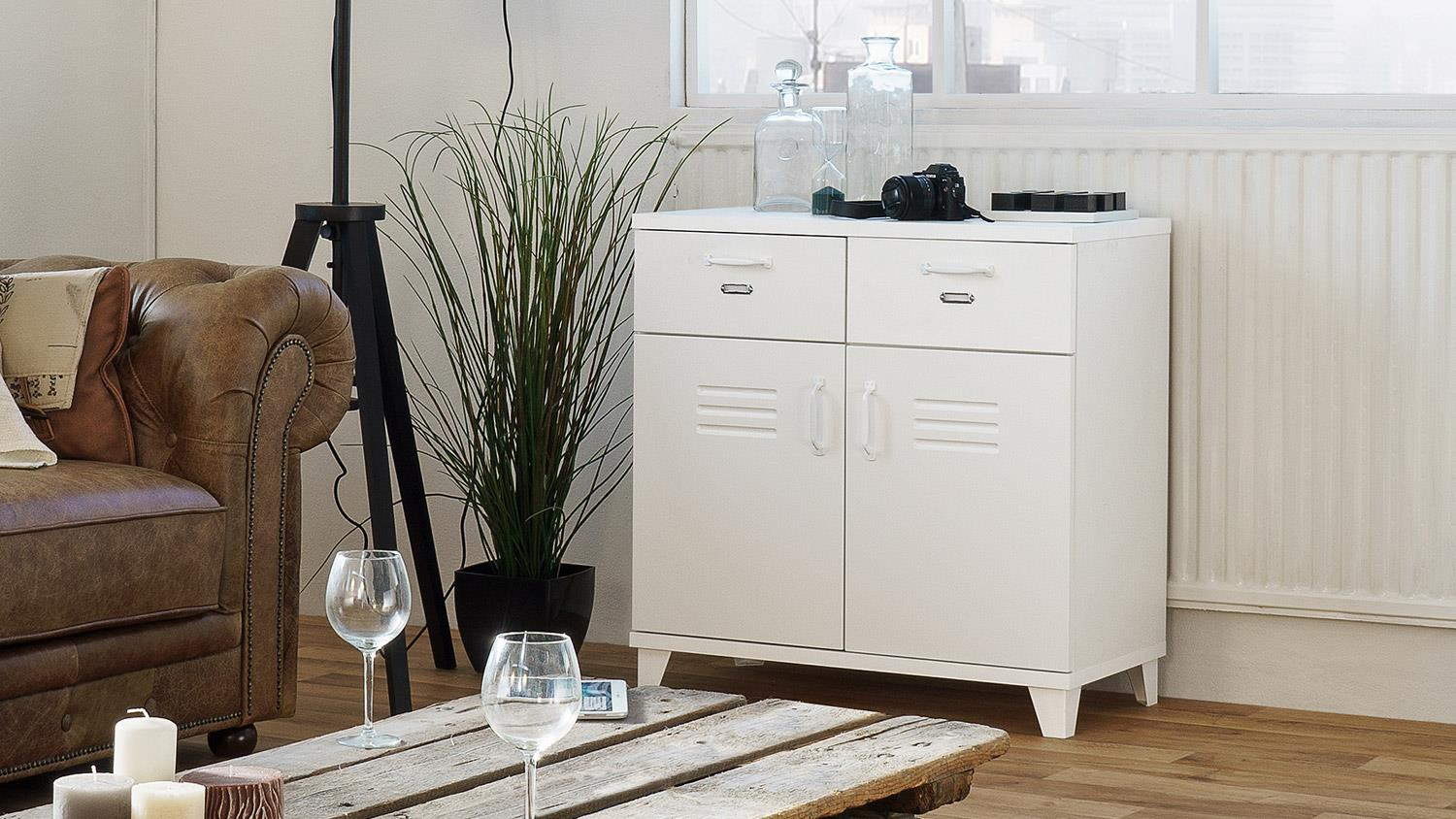 Kommode Factory 3 Spind Sideboard 2 Turig Weiss 80x80 Cm Industrie Look