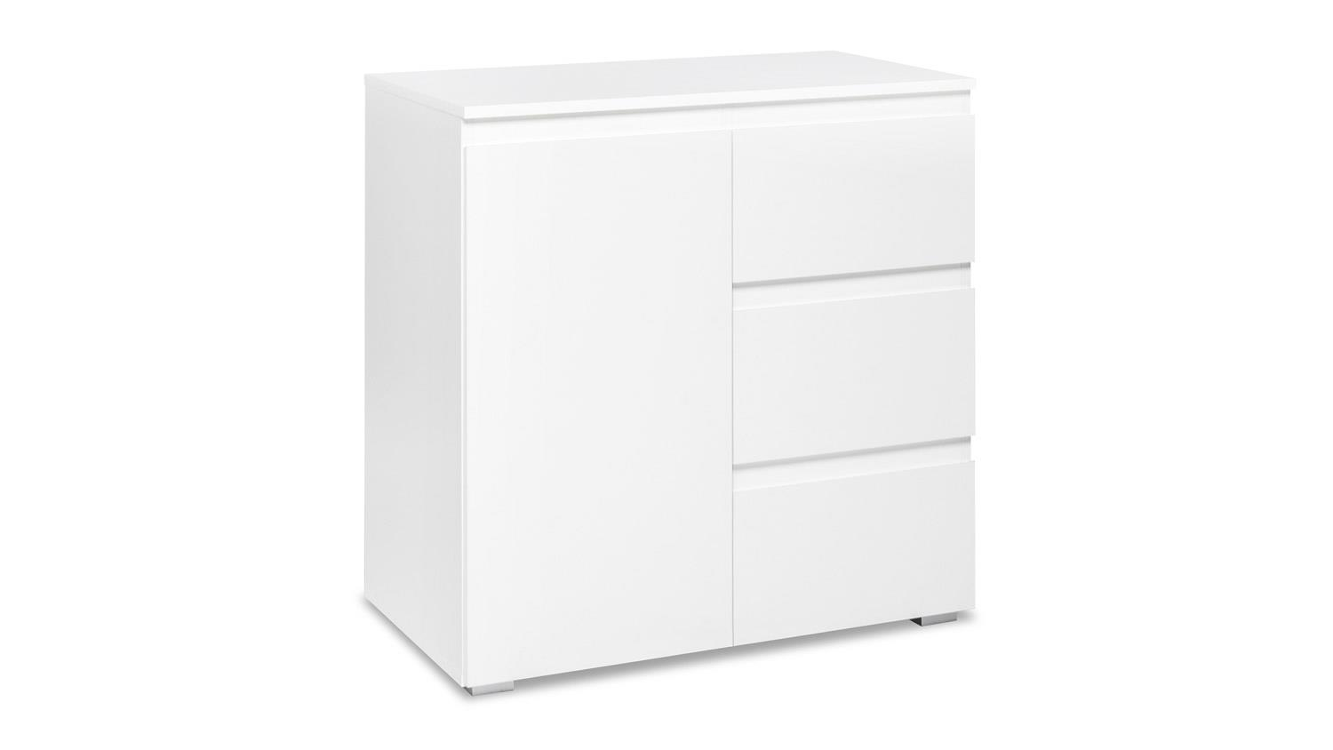 kommode blanc 2 wei er schrank 1 t rig mit schubk sten 80x80 cm. Black Bedroom Furniture Sets. Home Design Ideas