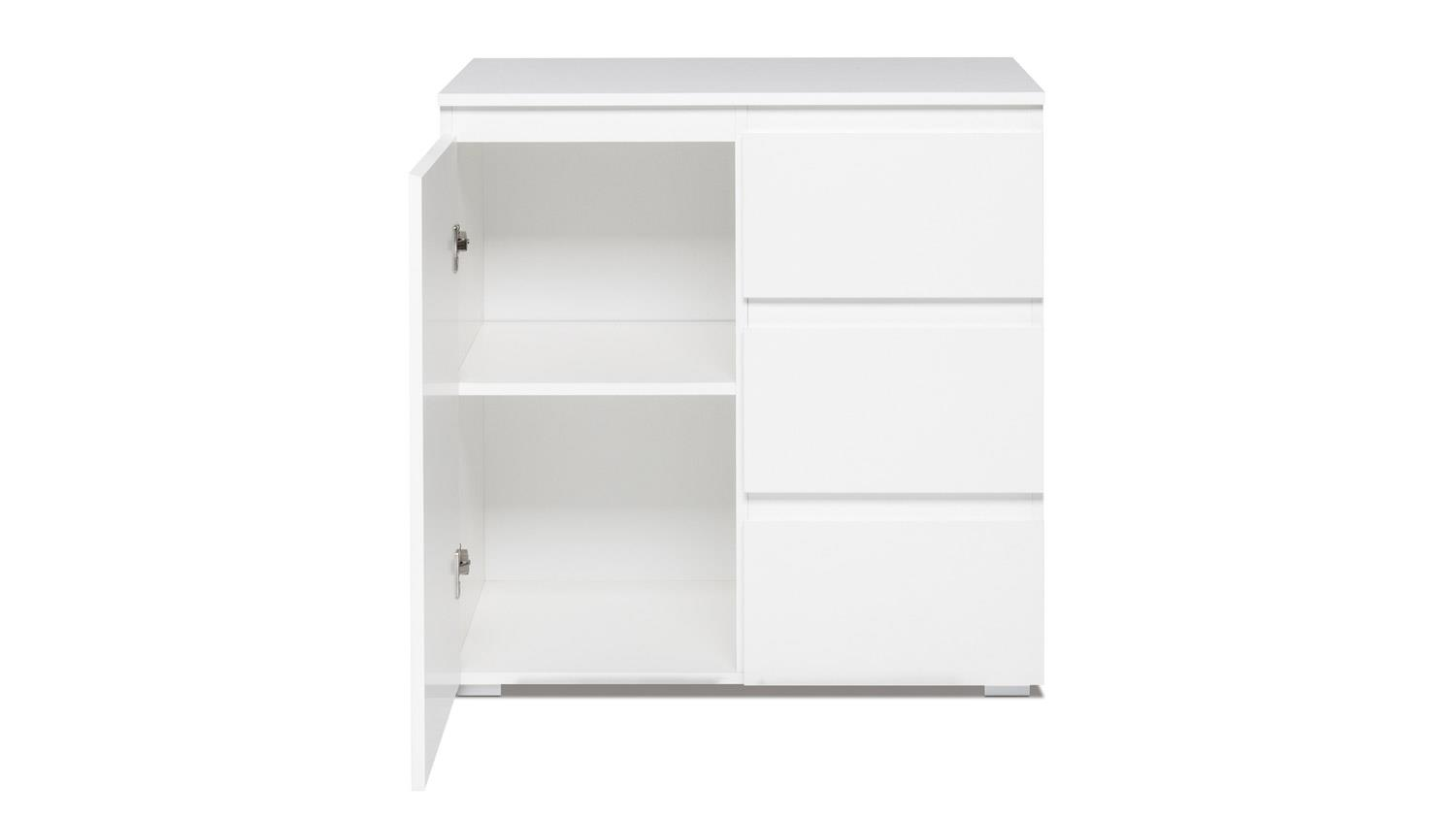 kommode blanc 2 wei er schrank 1 t rig mit schubk sten. Black Bedroom Furniture Sets. Home Design Ideas