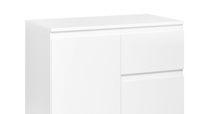 kommode blanc 2 wei er schrank 1 t rig mit schubk sten 80x80 cm. Black Bedroom Furniture Sets. Home Design Ideas
