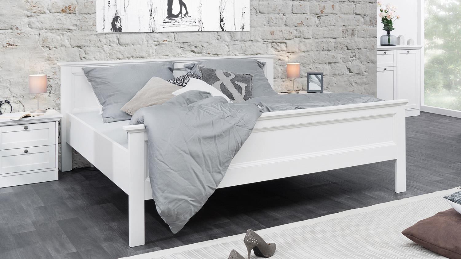 bett landwood bettgestell in wei mit kopfteil 180x200 cm landhausstil. Black Bedroom Furniture Sets. Home Design Ideas