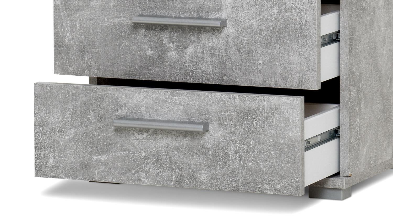 nachtkommode elora nachttisch nako in beton optik mit 3 schubkästen