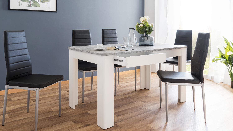 esstisch malm tisch in wei und beton mit schubk sten 138x80 cm. Black Bedroom Furniture Sets. Home Design Ideas