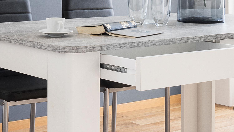 esstisch malm tisch in wei und beton mit schubk sten. Black Bedroom Furniture Sets. Home Design Ideas