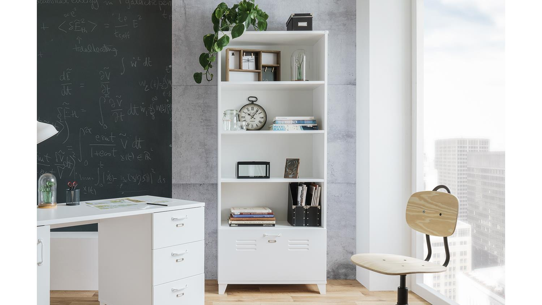 Büroschrank weiß matt  FACTORY 31 in weiß matt mit 4 Fächern Industrie-Look