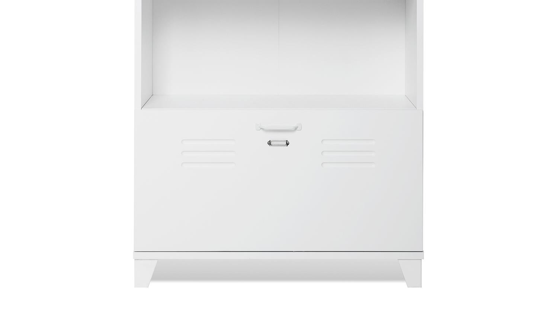 Büroschrank weiß  FACTORY 31 in weiß matt mit 4 Fächern Industrie-Look