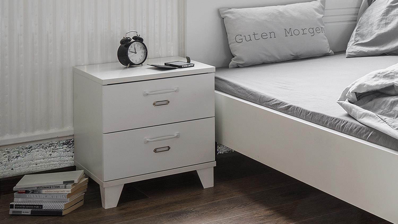 nachttisch factory 64 in wei matt mit 2 schubk sten industrie look. Black Bedroom Furniture Sets. Home Design Ideas