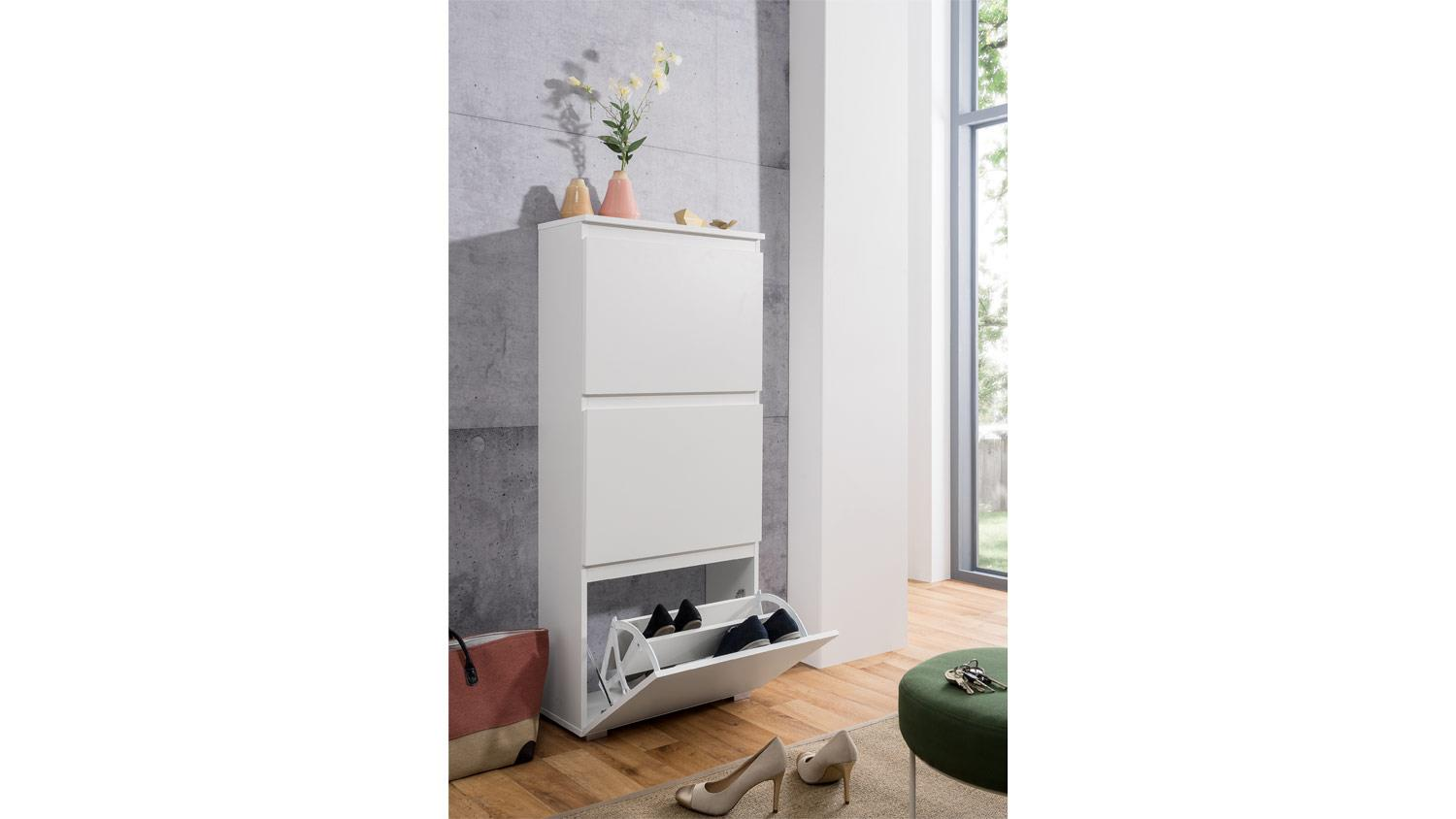 schuhkipper blanc 43 schuhschrank garderobenschrank in wei matt 58 cm. Black Bedroom Furniture Sets. Home Design Ideas