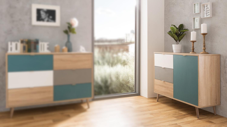 kommode cuba sideboard anrichte sonoma eiche wei grau petrol 103x85. Black Bedroom Furniture Sets. Home Design Ideas