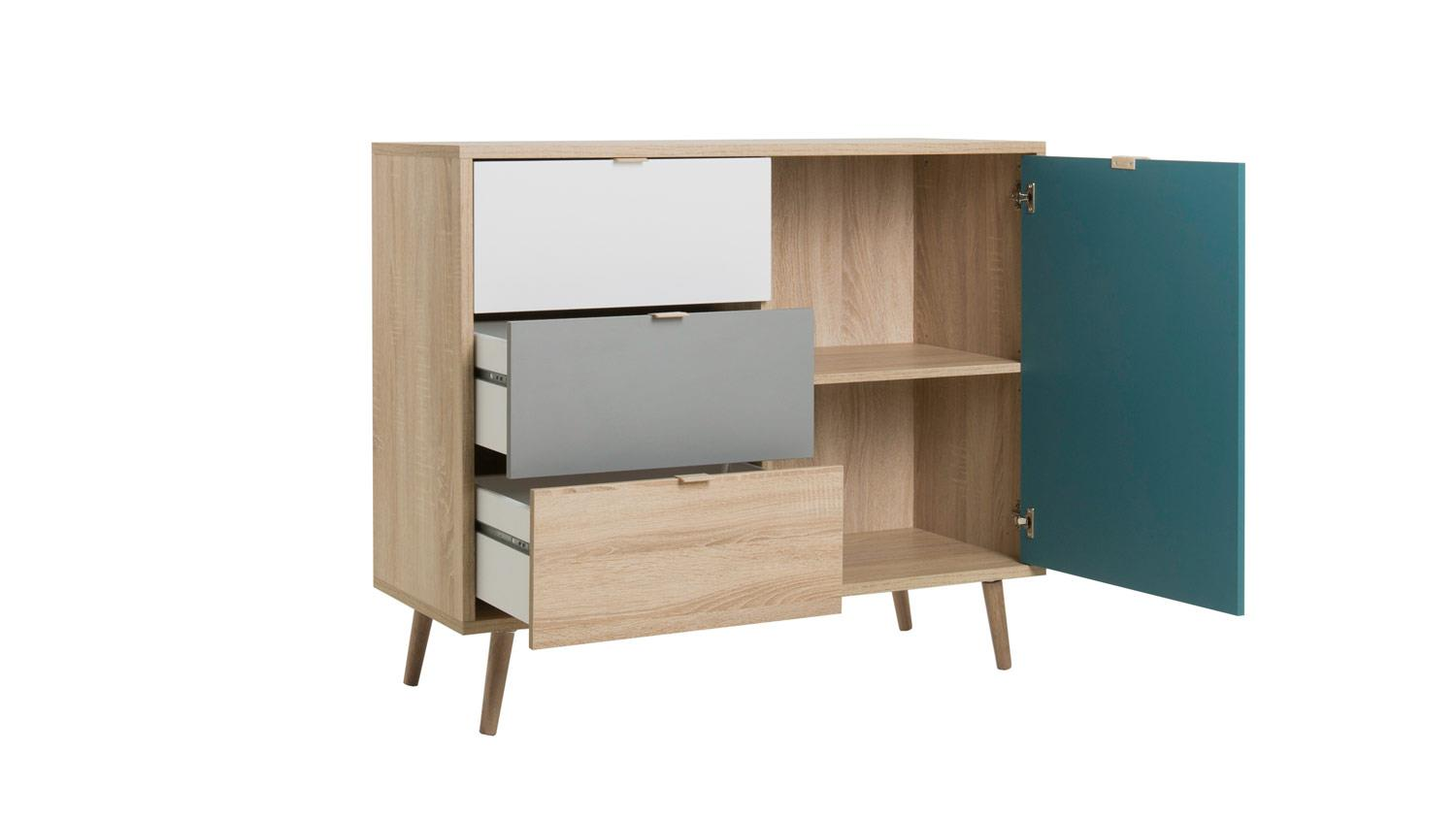 kommode cuba sideboard anrichte sonoma eiche wei grau petrol 103x85. Black Bedroom Furniture Sets. Home Design Ideas