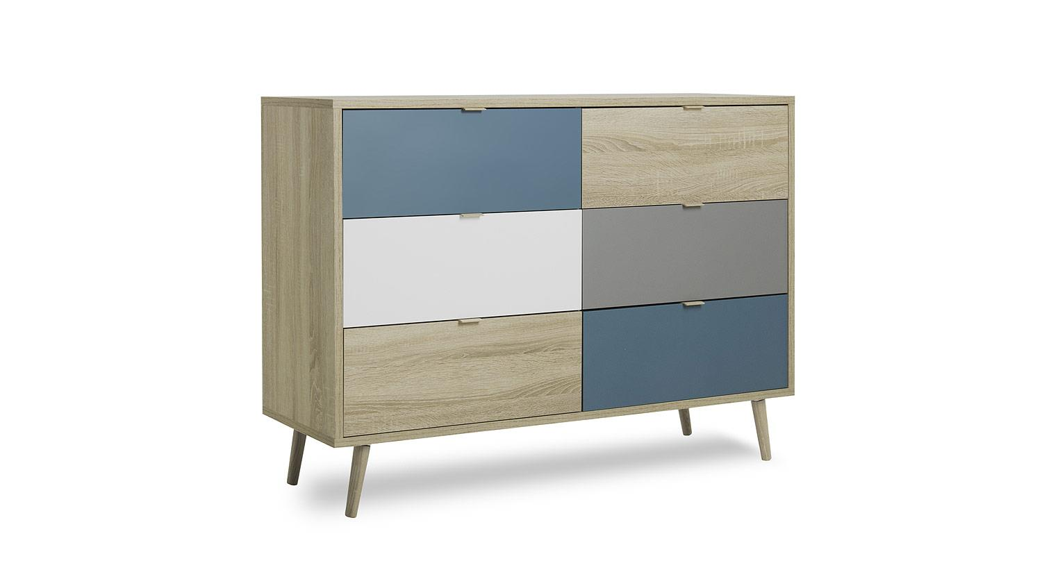 kommode cuba sideboard anrichte sonoma eiche wei grau petrol 120x85. Black Bedroom Furniture Sets. Home Design Ideas