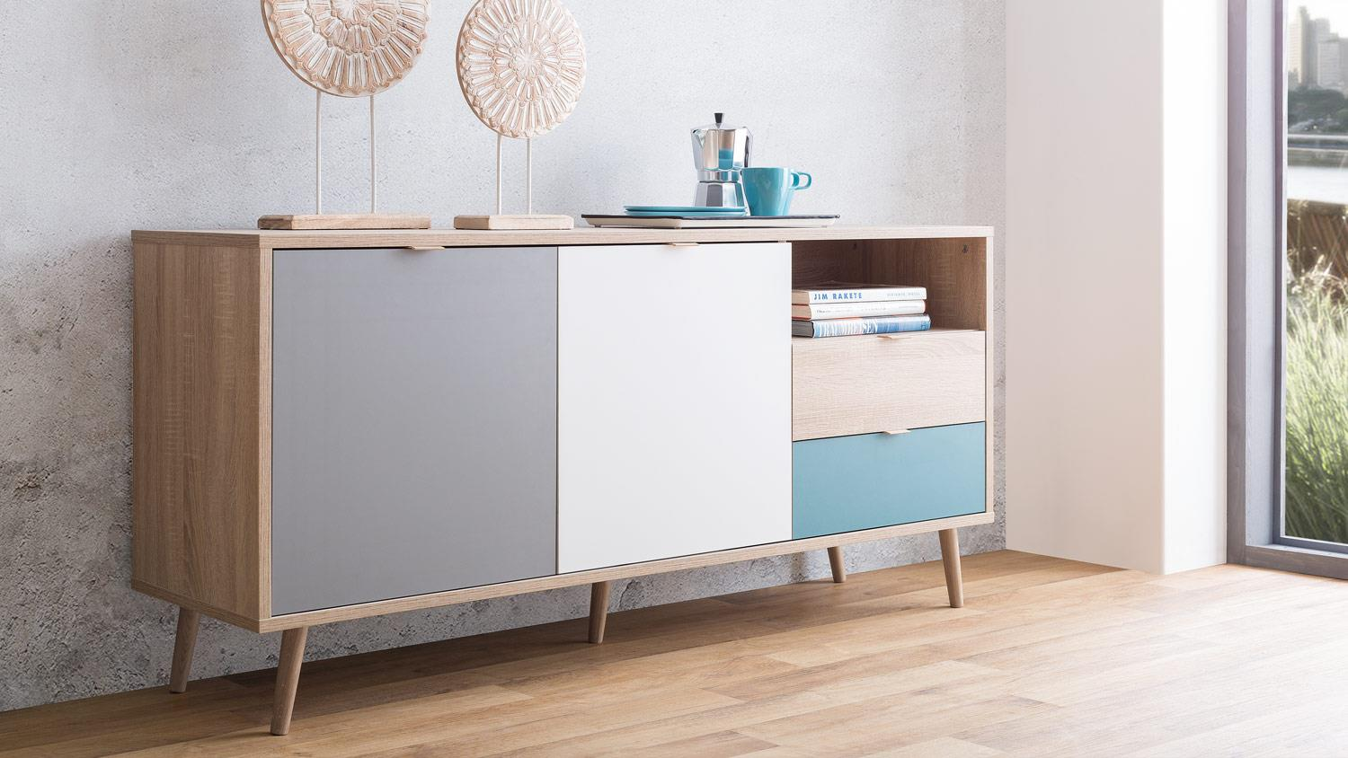 sideboard cuba kommode anrichte sonoma eiche wei grau petrol 150x68. Black Bedroom Furniture Sets. Home Design Ideas