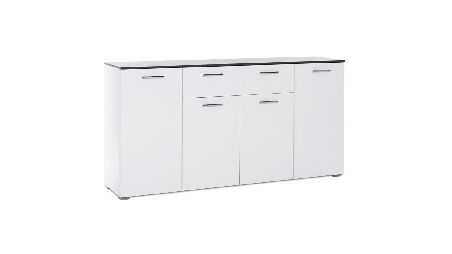 kommode magic sideboard anrichte in wei hochglanz beton dunkel 160 cm. Black Bedroom Furniture Sets. Home Design Ideas