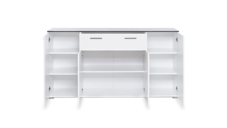 kommode magic sideboard anrichte in wei hochglanz beton dunkel 160 cm. Black Bedroom Furniture Sets. Home Design Ideas