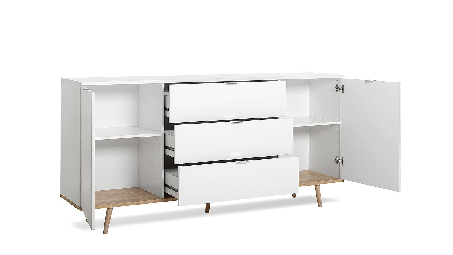 sideboard g teborg kommode in wei sonoma eiche skandinavisches design. Black Bedroom Furniture Sets. Home Design Ideas