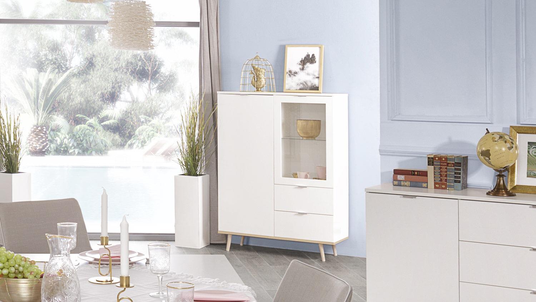 highboard g teborg wei sonoma eiche skandinavisch. Black Bedroom Furniture Sets. Home Design Ideas