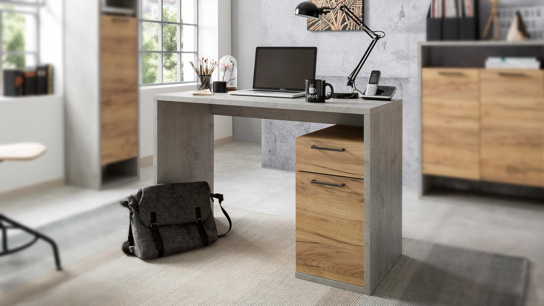 Schreibtisch MOMO Bürotisch Computertisch in Beton grau Honig Eiche