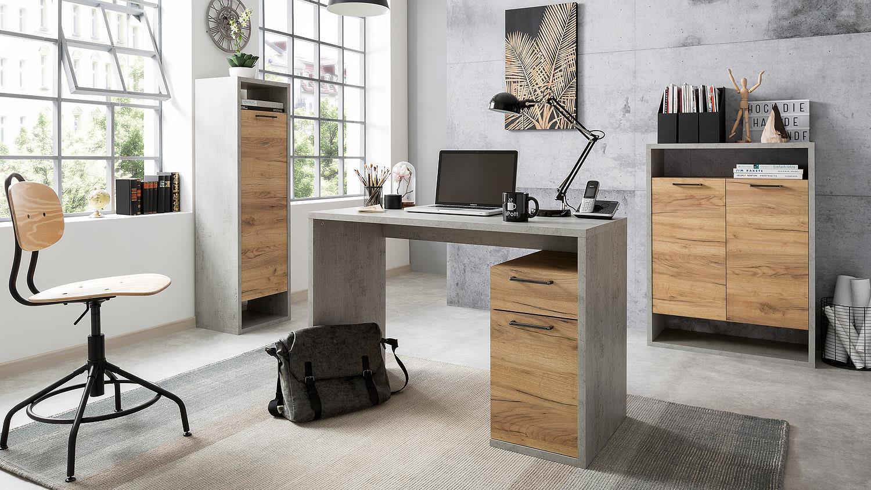 Schreibtisch momo b rotisch computertisch in beton grau for Schreibtisch in grau