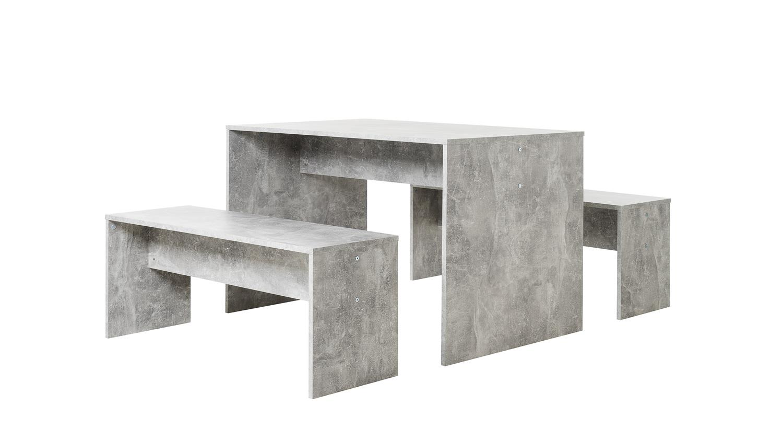 esszimmer set berlin esstisch tisch bank essgruppe in beton grau. Black Bedroom Furniture Sets. Home Design Ideas