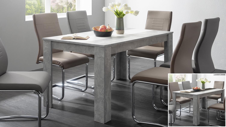 esstisch niklas betonlook wendeplatte in schwarz wei. Black Bedroom Furniture Sets. Home Design Ideas