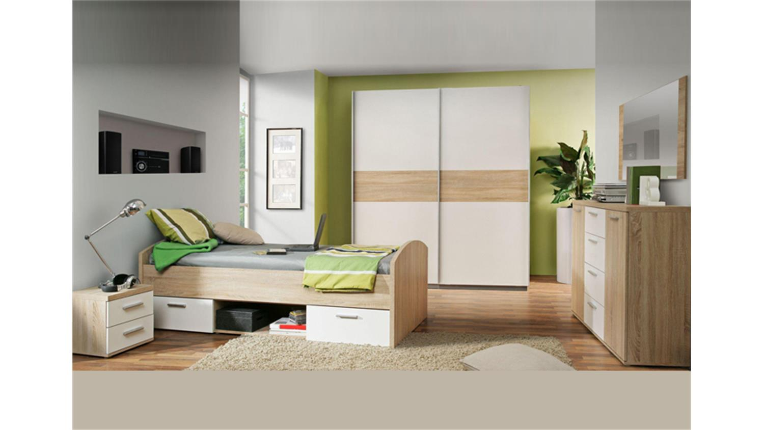 jugendzimmer winnie 4 teilig sonoma eiche und wei. Black Bedroom Furniture Sets. Home Design Ideas