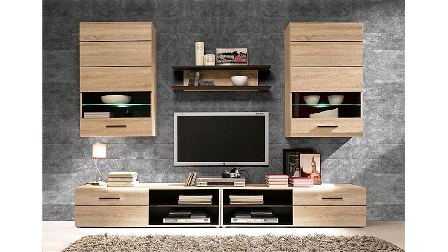 wohnwand 2 combino sonoma denver eiche wenge inkl led. Black Bedroom Furniture Sets. Home Design Ideas
