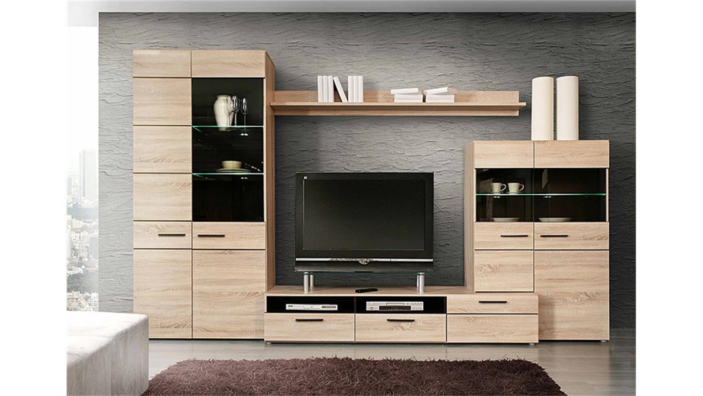 wohnwand 3 combino sonoma denver eiche wenge inkl led. Black Bedroom Furniture Sets. Home Design Ideas