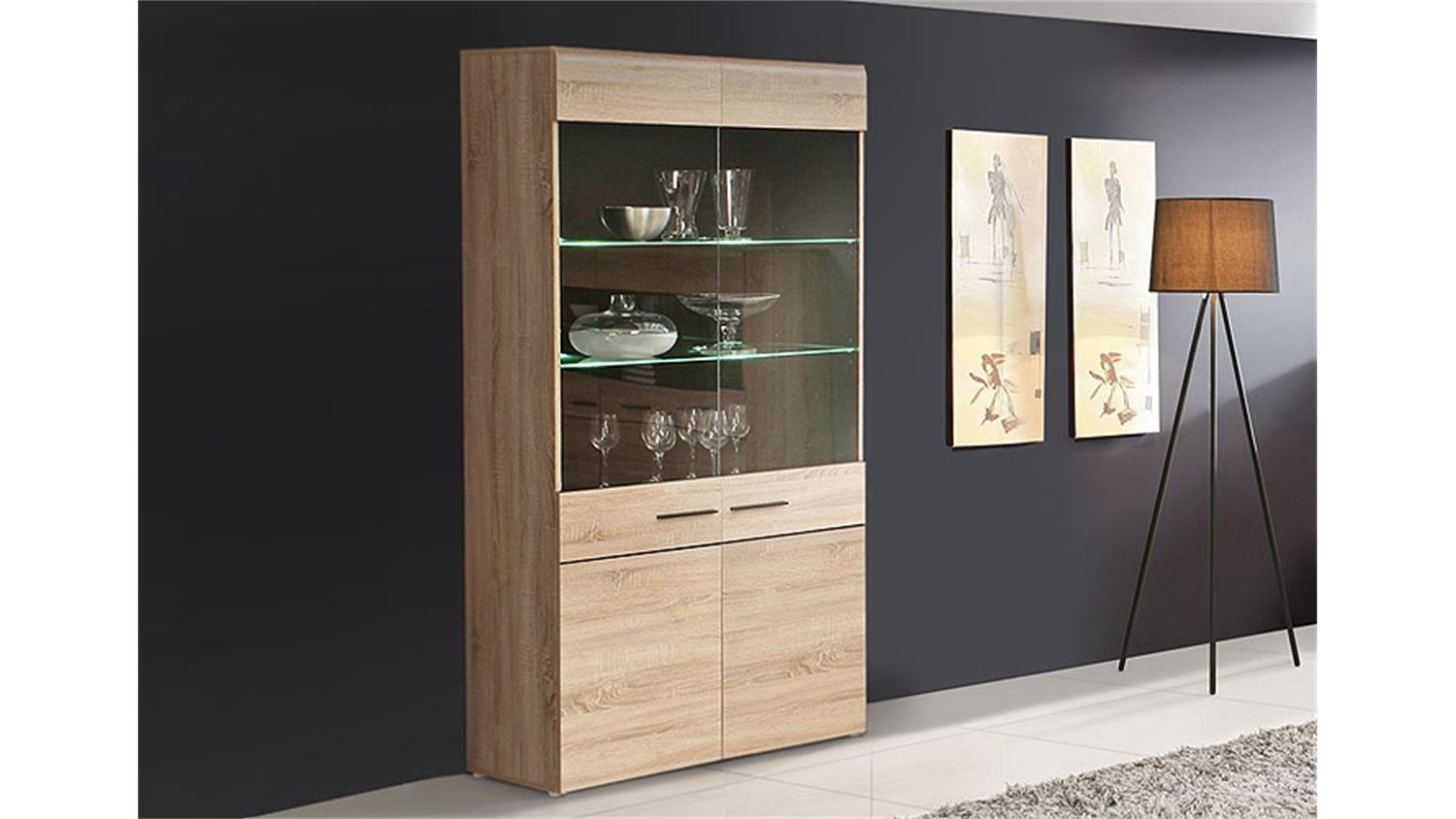 vitrine combino sonoma denver eiche wenge inkl led. Black Bedroom Furniture Sets. Home Design Ideas