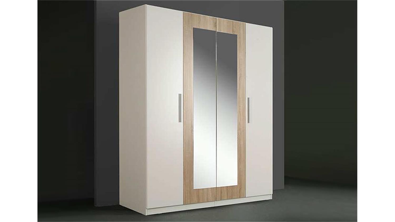 kleiderschrank cleo wei sonoma eiche mit spiegel 180 cm. Black Bedroom Furniture Sets. Home Design Ideas