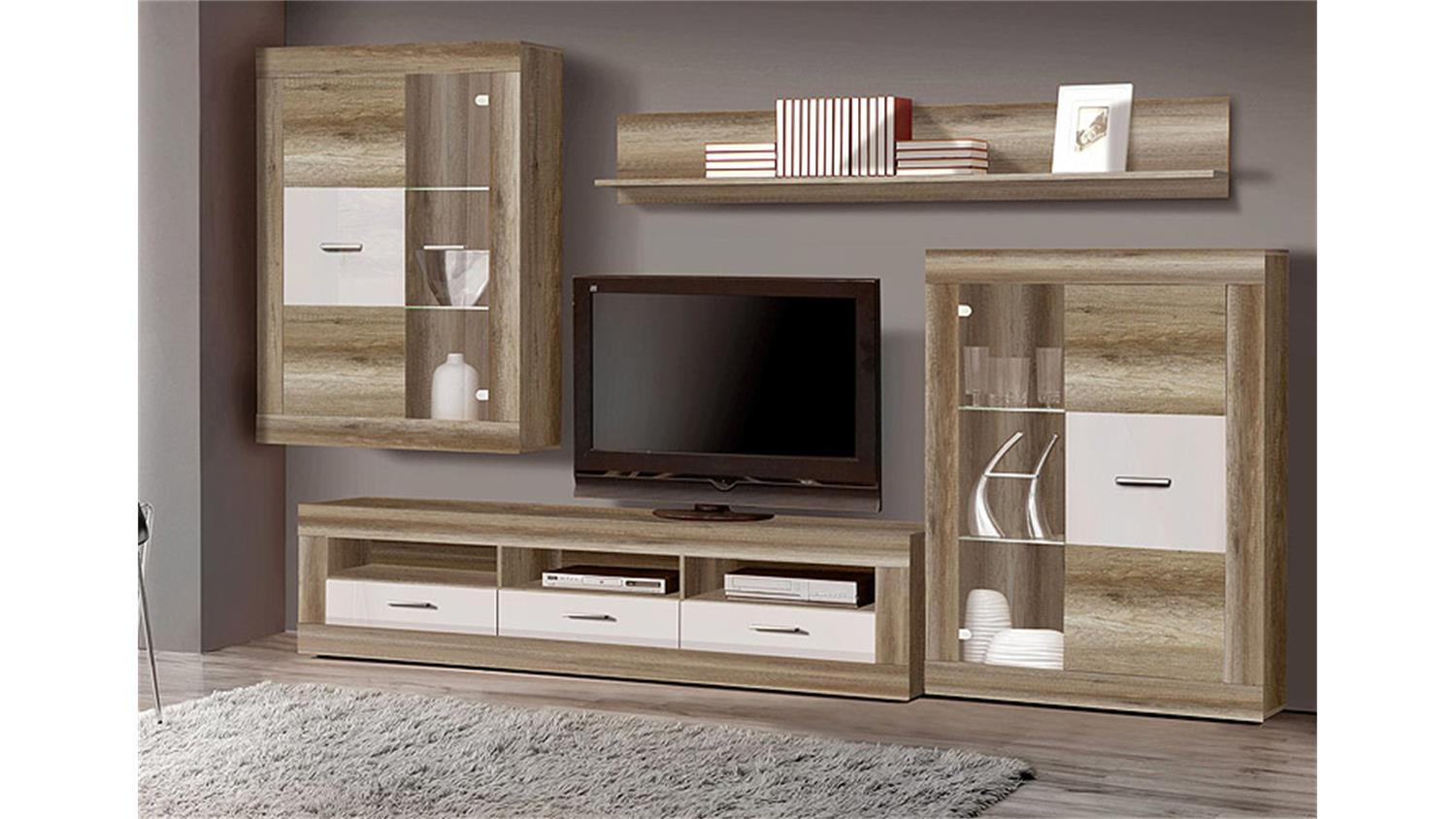 wohnwand gaucho eiche antik wei hochglanz led. Black Bedroom Furniture Sets. Home Design Ideas