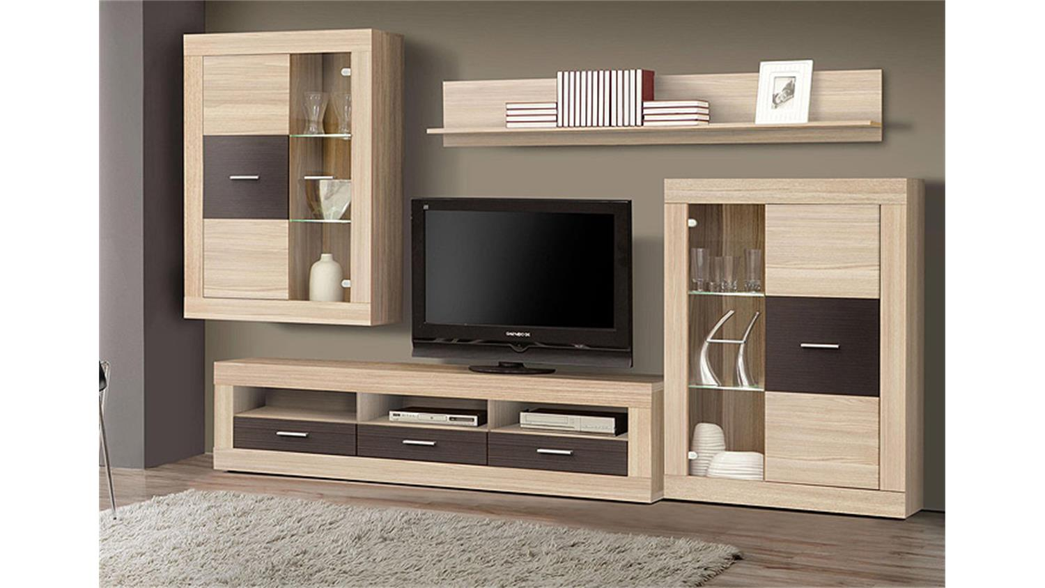 wohnwand gaucho sonoma eiche schoko led. Black Bedroom Furniture Sets. Home Design Ideas