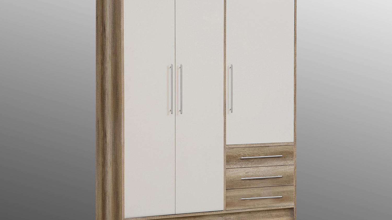 kleiderschrank jupiter sonoma eiche s gerau wei 144 cm. Black Bedroom Furniture Sets. Home Design Ideas