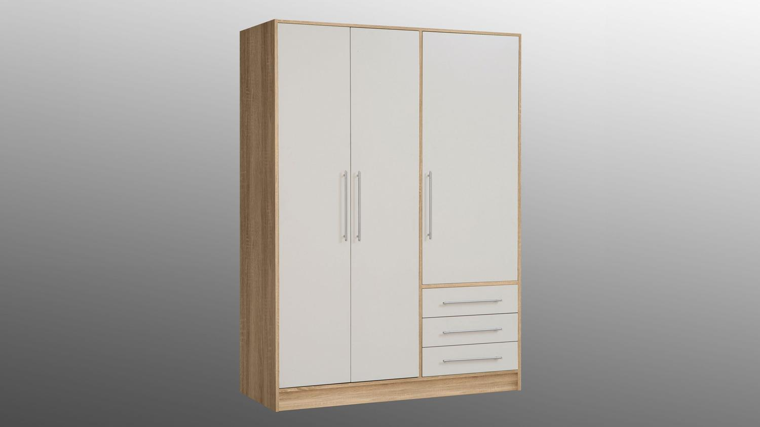 kleiderschrank jupiter schrank sonoma eiche wei 144 cm. Black Bedroom Furniture Sets. Home Design Ideas