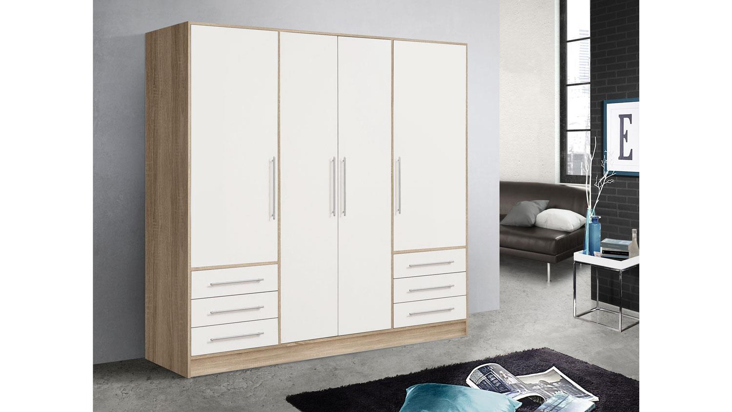 kleiderschrank jupiter dreht renschrank sonoma eiche und wei 206 cm. Black Bedroom Furniture Sets. Home Design Ideas