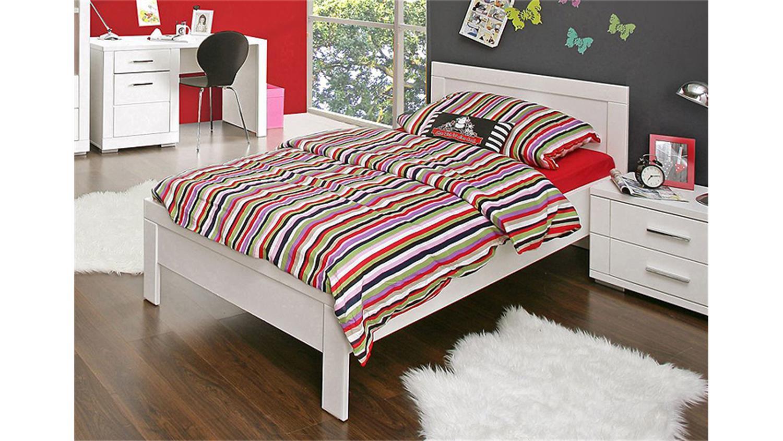 Bett snow jugendzimmerbett kinderzimmer wei matt 90x200 cm for Kinderzimmer bett