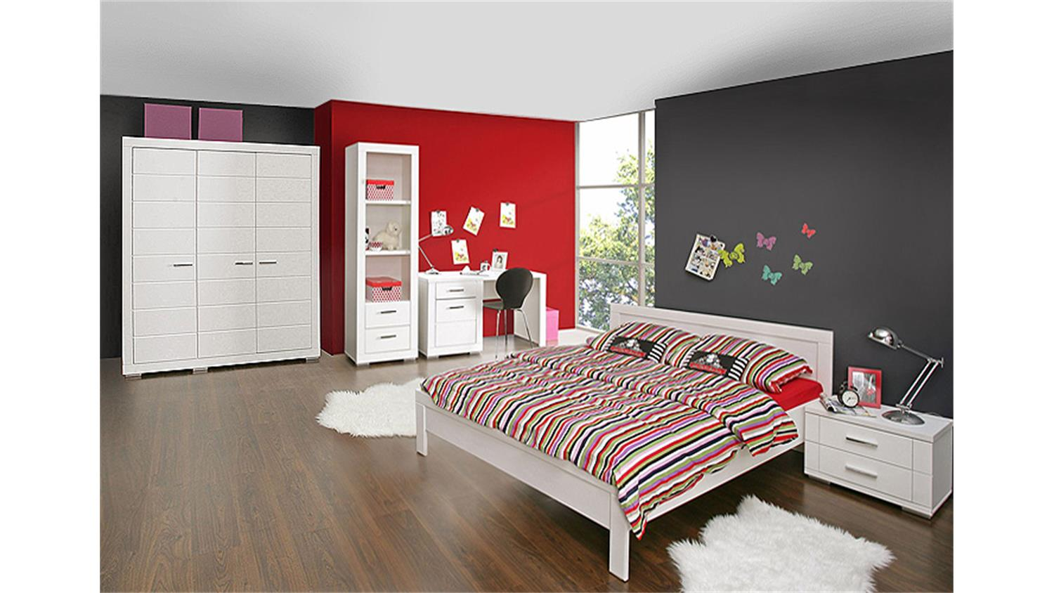 bett snow doppelbett jugendzimmer in wei matt 140x200 cm. Black Bedroom Furniture Sets. Home Design Ideas