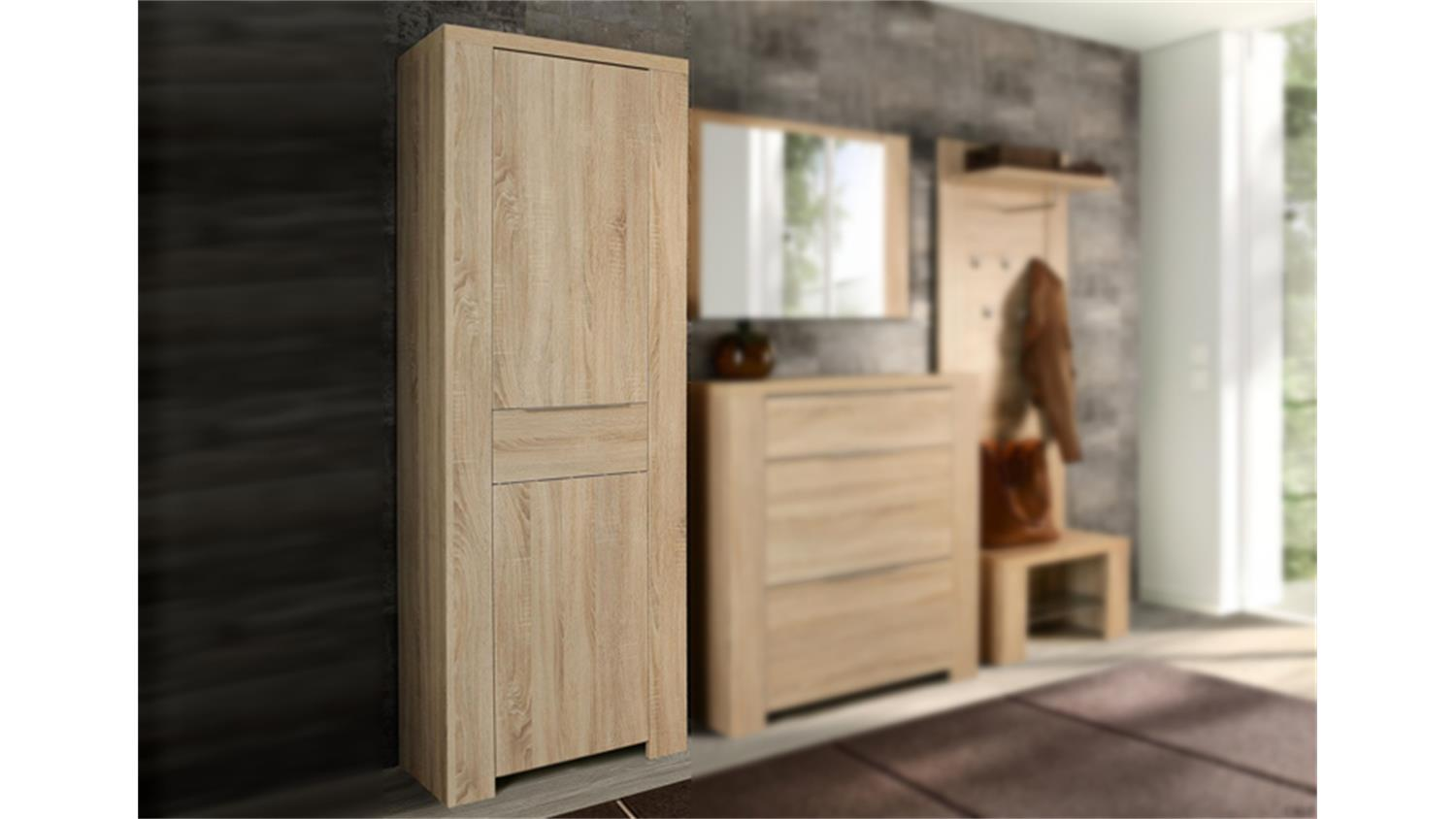 garderobenschrank calpe dielenschrank in sonoma eiche dekor. Black Bedroom Furniture Sets. Home Design Ideas