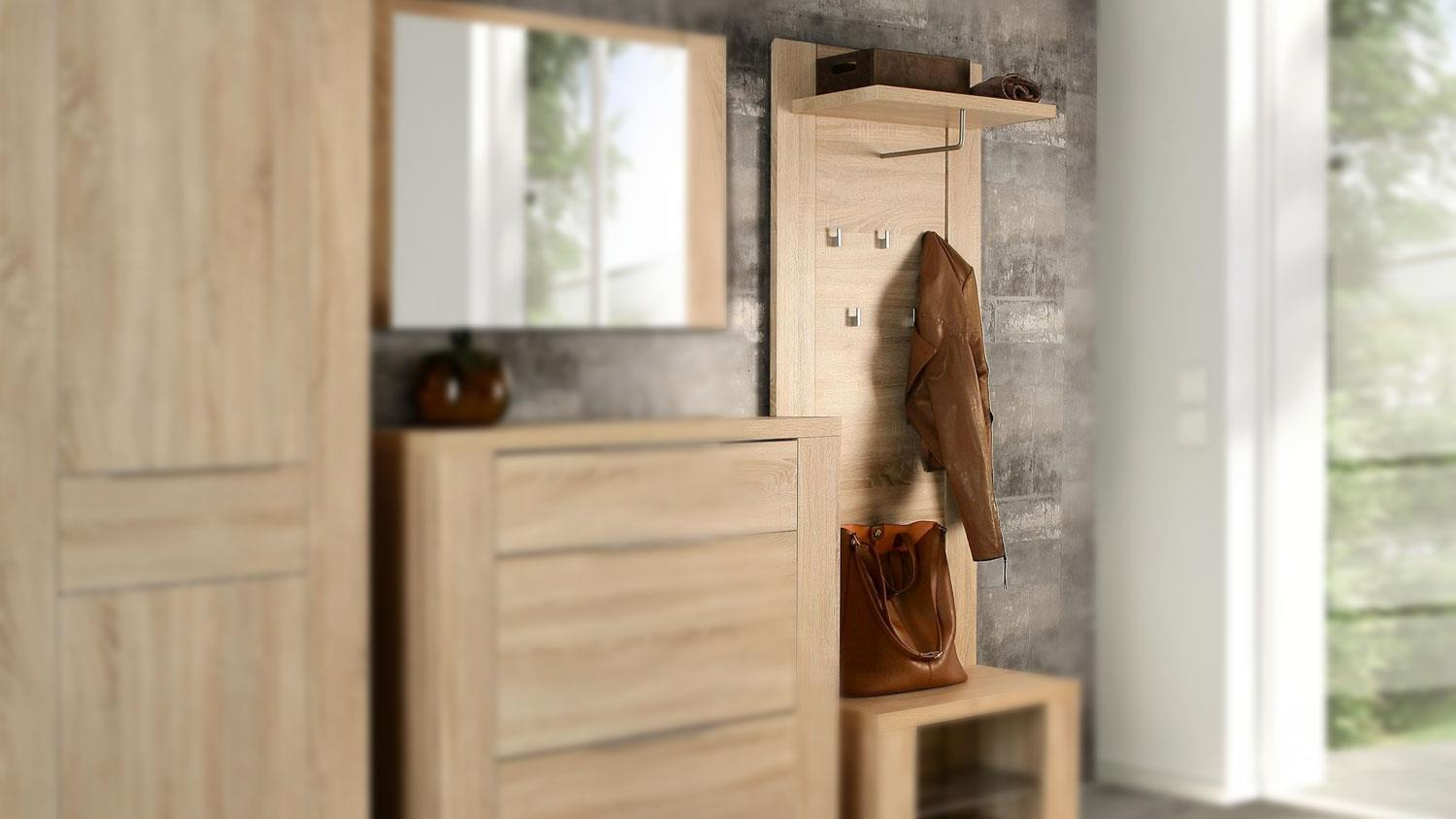 garderobenpaneel calpe garderobe in sonoma eiche dekor. Black Bedroom Furniture Sets. Home Design Ideas