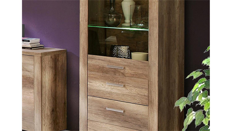 vitrine portland schrank wohnzimmer in eiche antik dekor. Black Bedroom Furniture Sets. Home Design Ideas