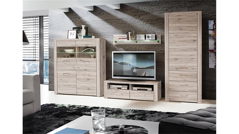 schrank portland vitrine wohnzimmer in sandeiche dekor. Black Bedroom Furniture Sets. Home Design Ideas