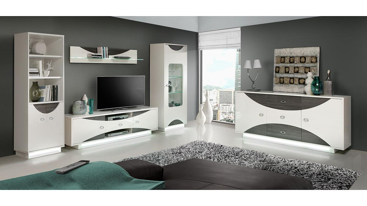 tv board wave lowboard wei hochglanz und eiche grau mit led. Black Bedroom Furniture Sets. Home Design Ideas