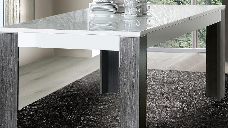 wave tisch weiß hochglanz und eiche grau 160-200, Moderne