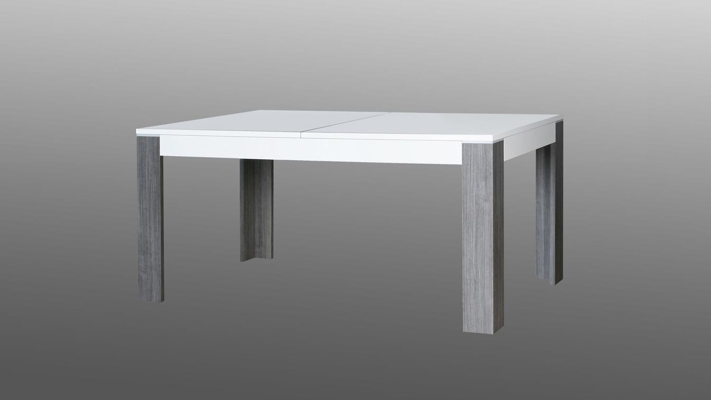 Wave Tisch Weiß Hochglanz Und Eiche Grau 160-200 Esstisch Eiche Grau