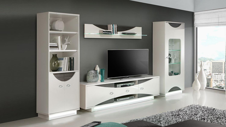 Wohnwand Weis Hochglanz Holz ~ Wohnwand WAVE Weiß Hochglanz und Eiche grau inkl LED