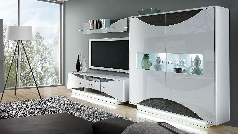 Wohnwand weiß grau hochglanz  2 WAVE Anbauwand weiß Hochglanz Eiche grau mit LED